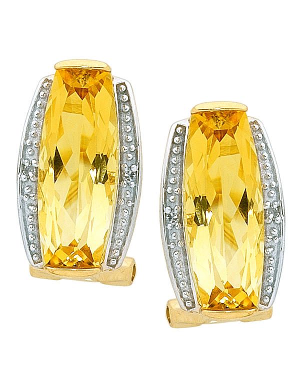 Citrine Earrings - Yellow Gold Citrine and Diamond Earrings - 754199 - Salera's Melbourne, Victoria and Brisbane, Queensland Australia