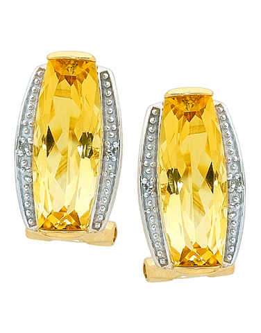 Citrine Earrings - Yellow Gold Citrine and Diamond Earrings - 754199