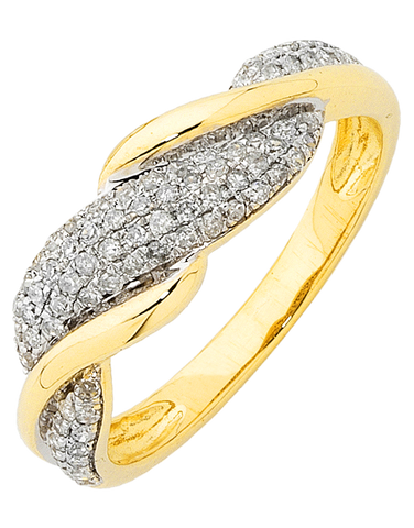 Diamond Ring - Yellow Gold Diamond Ring - 754202