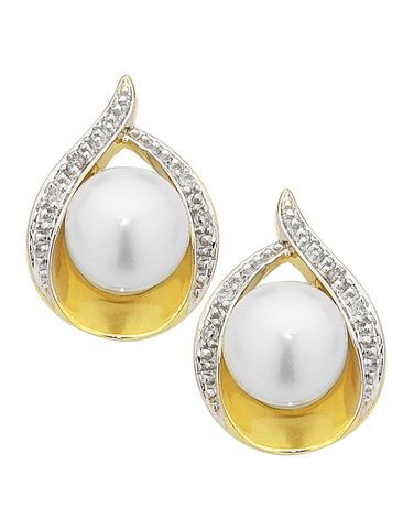 Pearl Earrings - 9ct Yellow Gold Diamond Set Pearl Studs - 754203