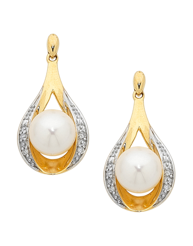 Pearl Earrings - Two Tone Gold Diamond Set Pearl Studs - 754204