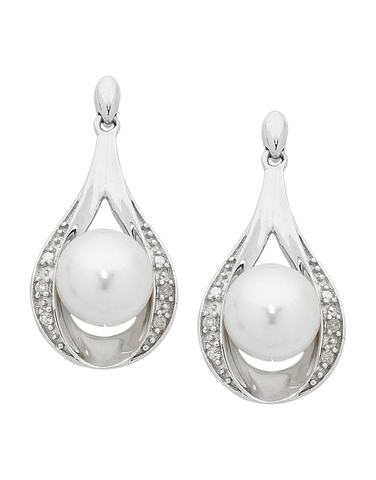 Pearl Earrings - Diamond Set Pearl Earrings - 754205