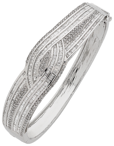 Diamond Bangle - White Gold Diamond Set Bangle - 754222