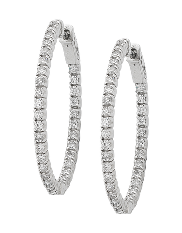 Diamond Earrings - Diamond Set White Gold Hoops - 754253