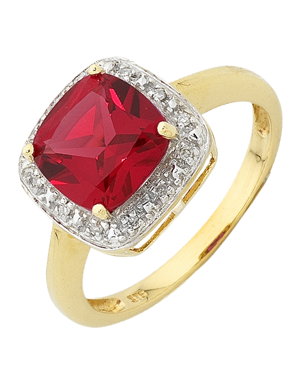 Ruby Ring - Yellow Gold Ruby and Diamond Ring - 754274 - Salera's