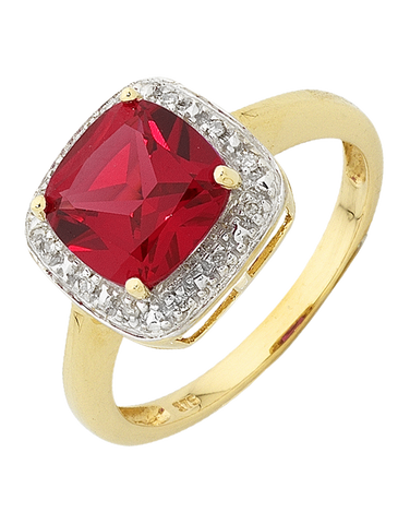 Ruby Ring - Yellow Gold Ruby and Diamond Ring - 754274