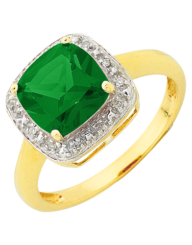Emerald Ring - 9ct Yellow Gold Emerald and Diamond Ring - 754275