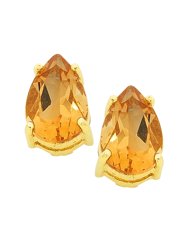 Citrine Earrings - Yellow Gold Citrine Stud Earrings - 754277