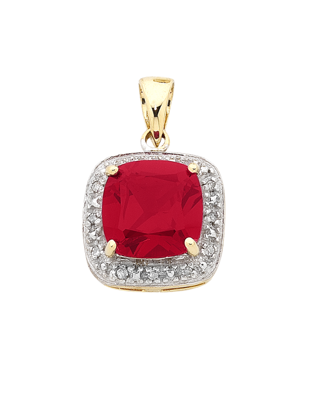 Ruby Pendant - Yellow Gold Ruby and Diamond Pendant - 754278 - Salera's Melbourne, Victoria and Brisbane, Queensland Australia
