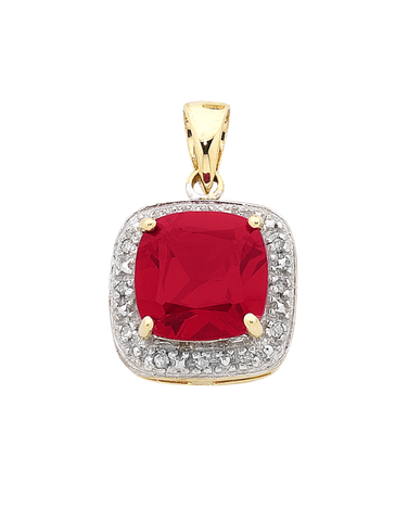 Ruby Pendant - Yellow Gold Ruby and Diamond Pendant - 754278