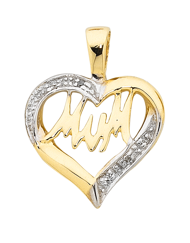 "Diamond Pendant - Two Tone Gold Diamond Set ""Mum"" Pendant - 754284 - Salera's Melbourne, Victoria and Brisbane, Queensland Australia"