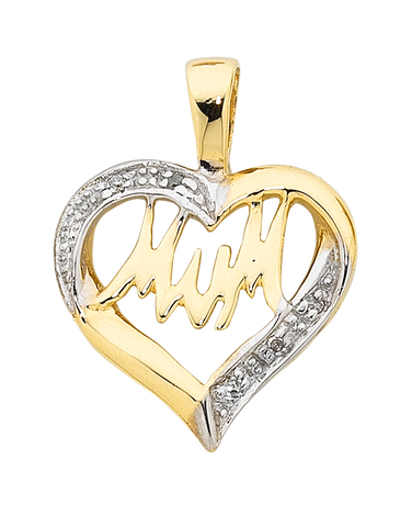 "Diamond Pendant - Two Tone Gold Diamond Set ""Mum"" Pendant - 754284"