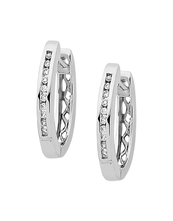 Diamond Earrings - Diamond Set White Gold Hoops - 754288 - Salera's Melbourne, Victoria and Brisbane, Queensland Australia - 1