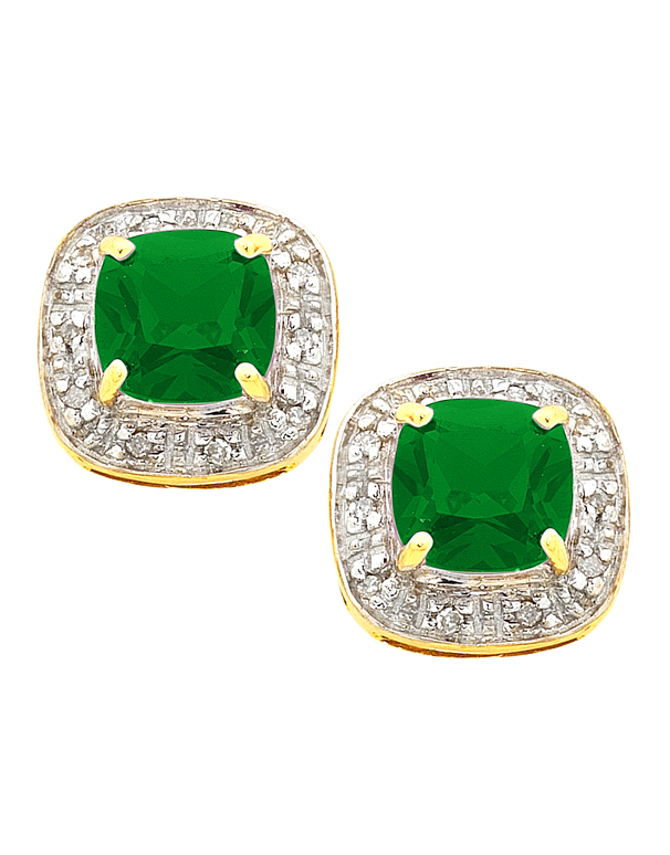 Emerald Earrings - 9ct Yellow Gold Emerald and Diamond Studs - 754294 - Salera's Melbourne, Victoria and Brisbane, Queensland Australia
