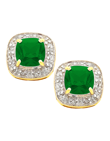 Emerald Earrings - 9ct Yellow Gold Emerald and Diamond Studs - 754294
