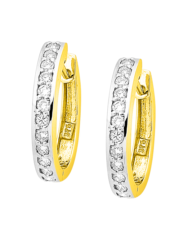 Diamond Earrings - Diamond Set Two Tone Gold Hoops - 754295 - Salera's Melbourne, Victoria and Brisbane, Queensland Australia