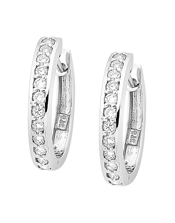 Diamond Earrings - Diamond Set White Gold Hoops - 754296 - Salera's Melbourne, Victoria and Brisbane, Queensland Australia