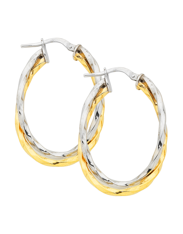 Gold Fusion Earrings - Two Tone Twist Hoop Earrings - 754398 - Salera's Melbourne, Victoria and Brisbane, Queensland Australia