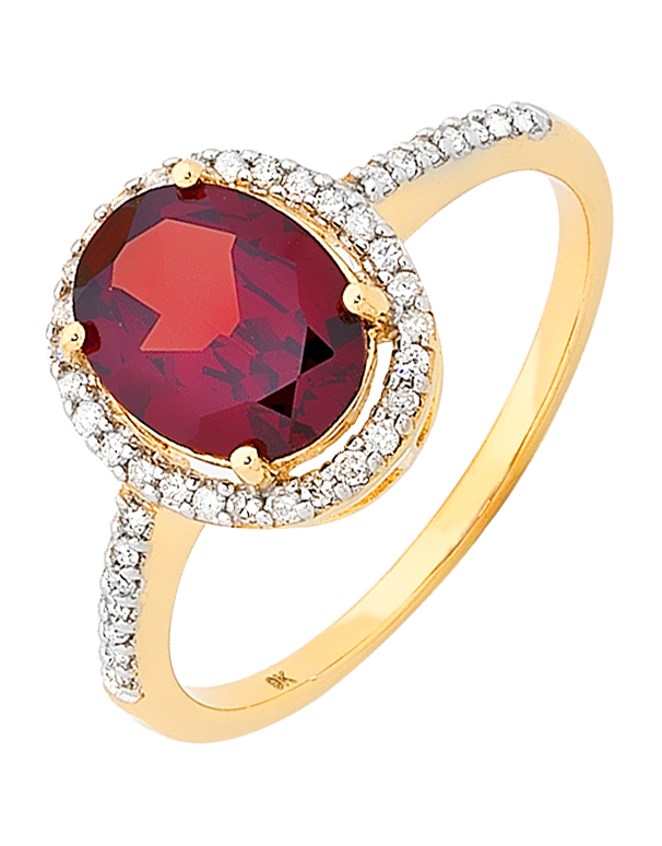 Garnet Ring - Yellow Gold Garnet and Diamond Ring - 754833 - Salera's Melbourne, Victoria and Brisbane, Queensland Australia