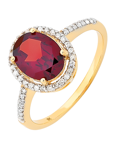 Garnet Ring - Yellow Gold Garnet and Diamond Ring - 754833