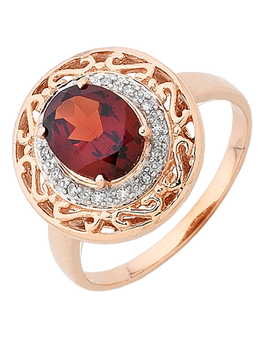 Garnet Ring - Rose Gold Garnet and Diamond Ring - 754868