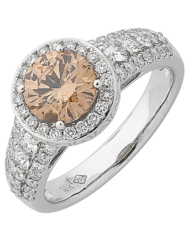 Diamond Ring - Champagne Diamond Halo Engagement Ring - 754892 - Salera's Melbourne, Victoria and Brisbane, Queensland Australia