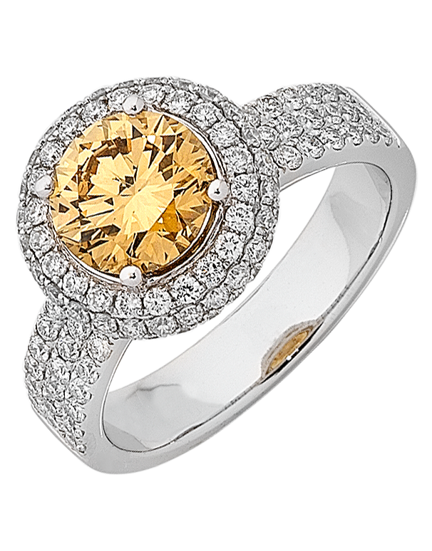 Diamond Ring - Champagne Diamond Halo Engagement Ring - 754893 - Salera's Melbourne, Victoria and Brisbane, Queensland Australia