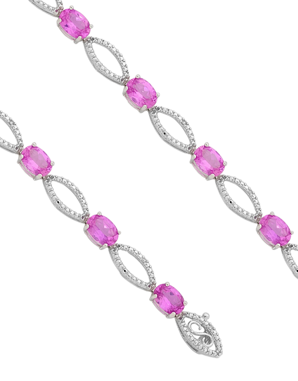 Pink Sapphire Bracelet - 9ct White Gold Pink Sapphire and Diamond Bracelet - 755058 - Salera's Melbourne, Victoria and Brisbane, Queensland Australia