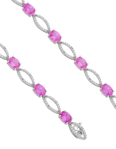 Pink Sapphire Bracelet - 9ct White Gold Pink Sapphire and Diamond Bracelet - 755058