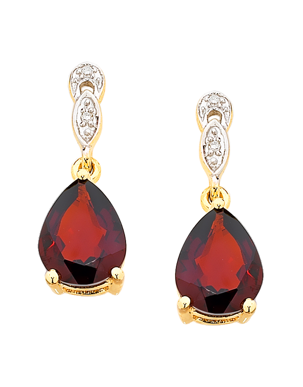 Garnet Earrings - Yellow Gold Garnet and Diamond Set Drop Earrings - 755068 - Salera's Melbourne, Victoria and Brisbane, Queensland Australia