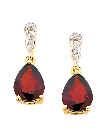 Garnet Earrings - Yellow Gold Garnet and Diamond Set Drop Earrings - 755068