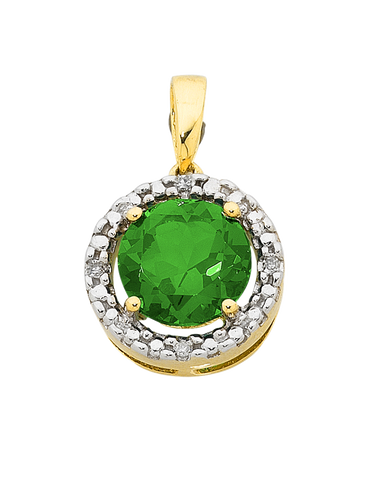 Emerald Pendant - Emerald and Diamond Pendant - 755069