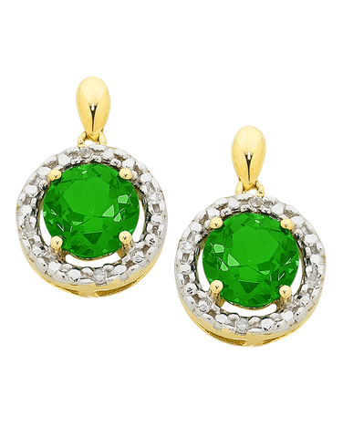 Emerald Earrings - Emerald and Diamond Earrings - 755071