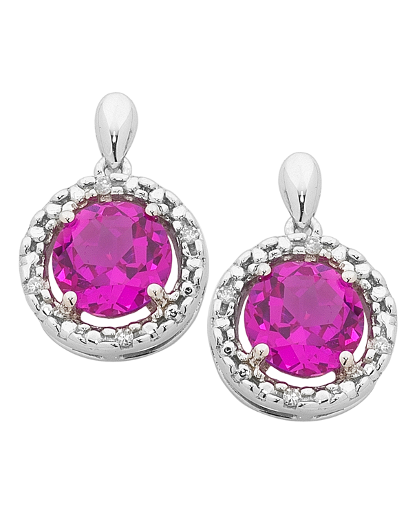 Pink Sapphire Earrings - 9ct White Gold Pink Sapphire and Diamond Earrings - 755073 - Salera's