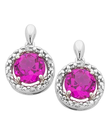 Pink Sapphire Earrings - 9ct White Gold Pink Sapphire and Diamond Earrings - 755073