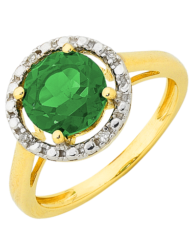Emerald Ring - Emerald and Diamond Ring - 755074
