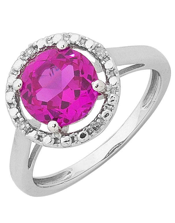 Pink Sapphire Ring - 9ct White Gold Pink Sapphire and Diamond Ring - 755075 - Salera's Melbourne, Victoria and Brisbane, Queensland Australia
