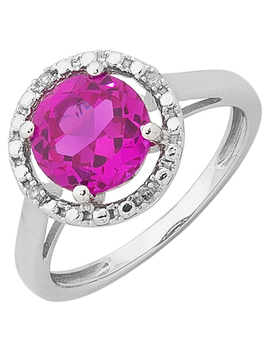 Pink Sapphire Ring - 9ct White Gold Pink Sapphire and Diamond Ring - 755075
