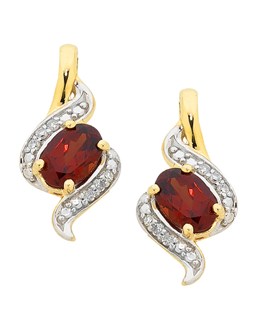 Garnet Earrings - Yellow Gold Garnet & Diamond Set Earrings - 755190