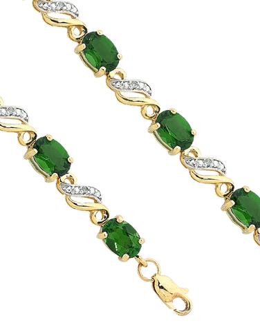 Emerald Bracelet - 9ct Yellow Gold Emerald and Diamond Bracelet - 755206