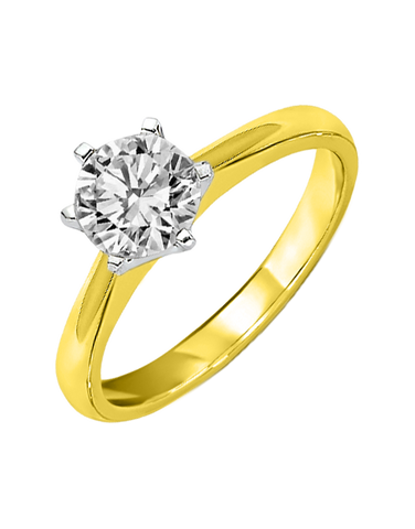 Diamond Ring - 1.00ct Round Brilliant Solitaire Yellow Gold Engagement Ring - 763071