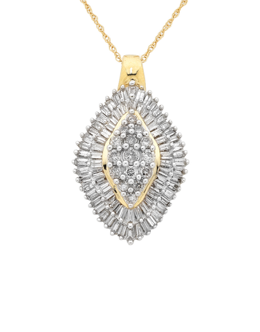 Diamond Pendant - Yellow Gold Diamond Pendant - 755465