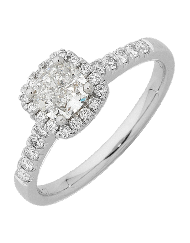 Diamond Ring - Cushion Cut Diamond Halo Engagement Ring - 762621 - Salera's