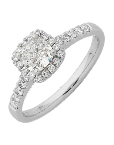 Diamond Ring - Cushion Cut Diamond Halo Engagement Ring