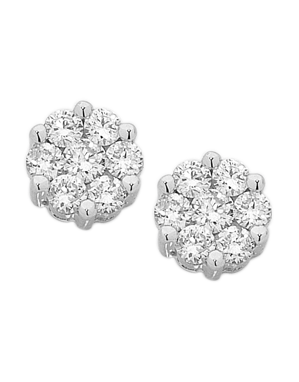 Diamond Studs - White Gold Diamond Cluster Studs - 755820 - Salera's Melbourne, Victoria and Brisbane, Queensland Australia