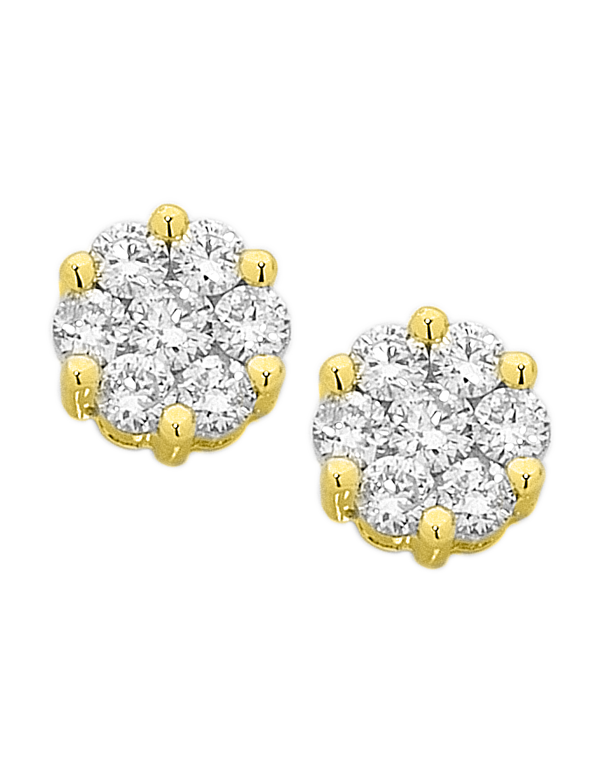 Diamond Studs - Yellow Gold Diamond Cluster Studs - 755821 - Salera's Melbourne, Victoria and Brisbane, Queensland Australia
