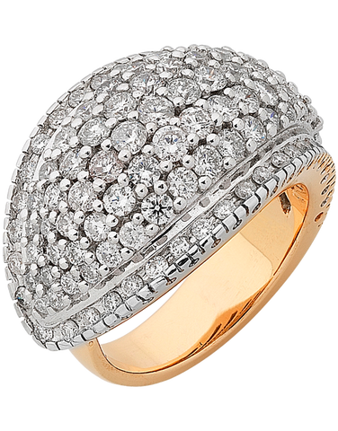 Diamond Ring - Two Tone Gold Diamond Dress Ring - 755829