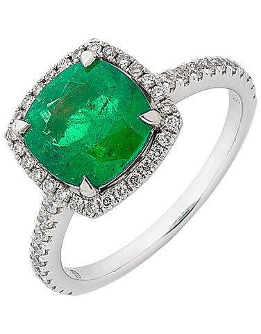 Emerald Ring - White Gold Emerald & Diamond Ring - 756017