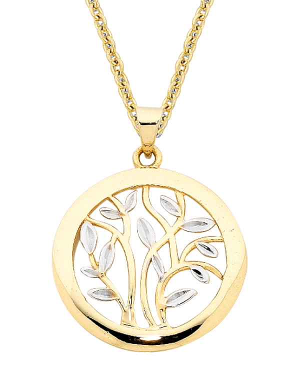 Gold Pendant - Two Tone Tree of Life Pendant - 756160