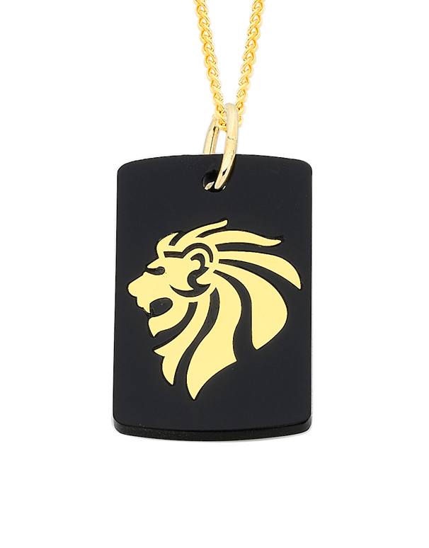 Men's Pendant - Yellow Gold & Acrylic Lion Pendant - 756181 - Salera's Melbourne, Victoria and Brisbane, Queensland Australia